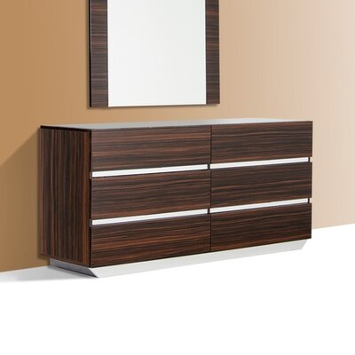 6 Drawer Double Dresser Color: Ebony