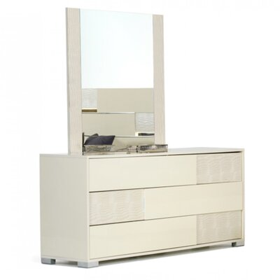 Camron 3 Drawer Wood Standard Dresser Color: Beige