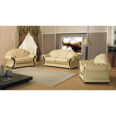 Crase Traditional 3 Piece Leather Living Room Set