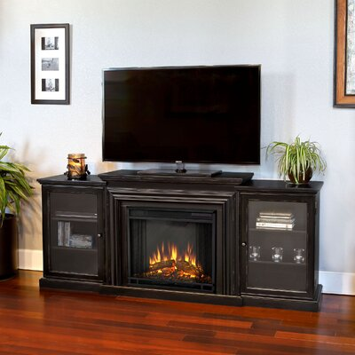 Frederick 72 TV Stand with Fireplace Color: Distressed Blackwash
