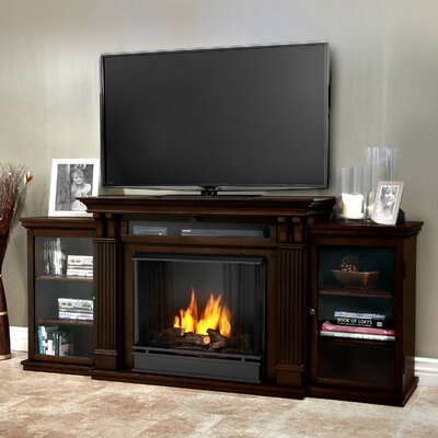 Calie 67 TV Stand with Gel Fireplace Color: Dark Walnut