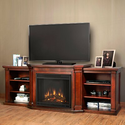 Valmont 75.5 TV Stand with Fireplace Finish: Dark Mahogany