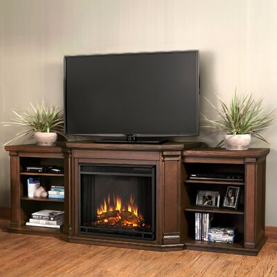 Valmont 75.5 TV Stand with Fireplace Color: Chestnut Oak