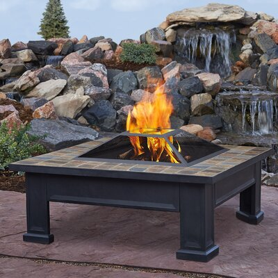 Real Flame Breckenridge Steel Wood Burning Fire Pit Table 912-BLK
