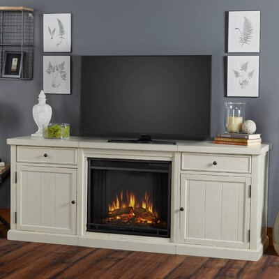 Cassidy Entertainment Unit with Electric Fireplace Finish: White