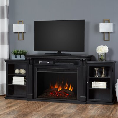 Grand Tracey 84 TV Stand with Fireplace Color: Black