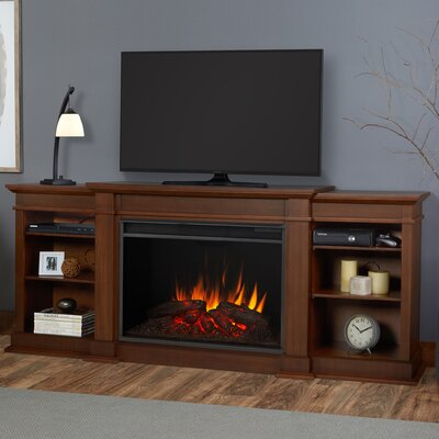 Eliot Grand 81 TV Stand with Fireplace Color: Vintage Black Maple