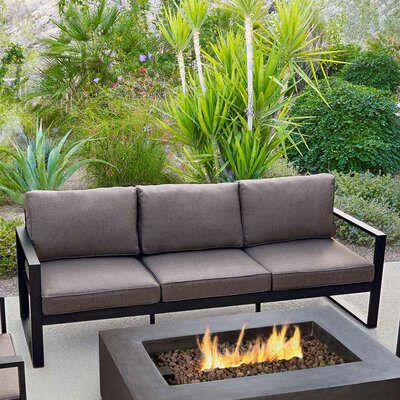Baltic Sofa with Cushions Finish: Black, Fabric: Chocolate