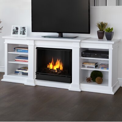 Fresno 72 TV Stand with Gel Fireplace Color: White