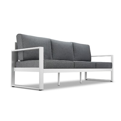 Baltic Sofa with Cushions Finish: White, Fabric: Gray