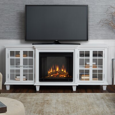 Marlowe Entertainment Unit Electric Fireplace TV Stand Finish: White