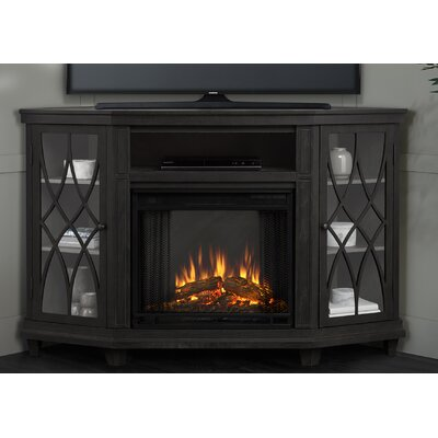 Lynette Corner Electric Fireplace TV Stand Finish: Gray