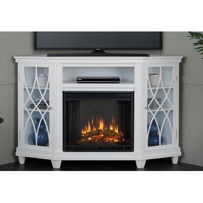 Lynette Corner Electric Fireplace TV Stand Finish: White