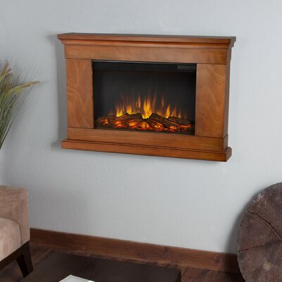 Cheap Price Slim Jackson Wall Mounted Electric Fireplace Finish Pecan Shop Now