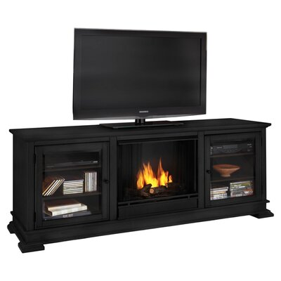 "Hudson 68"" Ventless TV Stand with Electric or Gel Fuel Fireplace Finish: Black, Model: Gel Fuel"