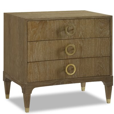 Atherton Cerused Teak 3 Drawer Nightstand