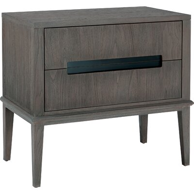 Palmer Mid-Century 2 Drawer Nightstand Color: Driftwood/Black