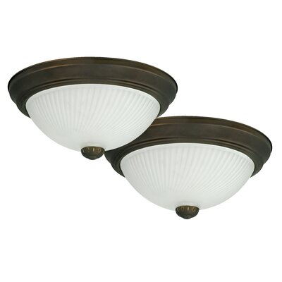 1-Light Flush Mount (Set of 2) Finish: Oil Rubbed Bronze