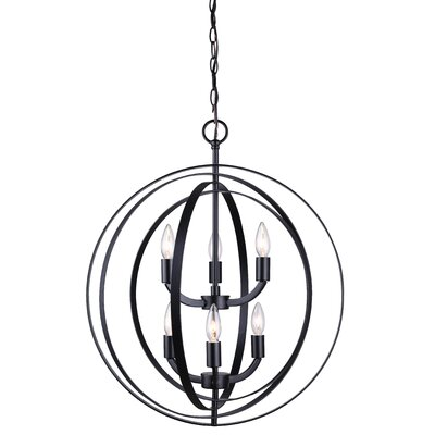 Dan 6-Light Candle-Style Chandelier Finish: Black