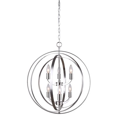 Dan 6-Light Candle-Style Chandelier Finish: Brushed Nickel