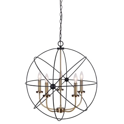 Waldron 5-Light Candle-Style Chandelier Finish: Gold Brushed Nickel