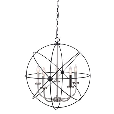 Waldron 5-Light Candle-Style Chandelier Finish: Black Brushed Nickel