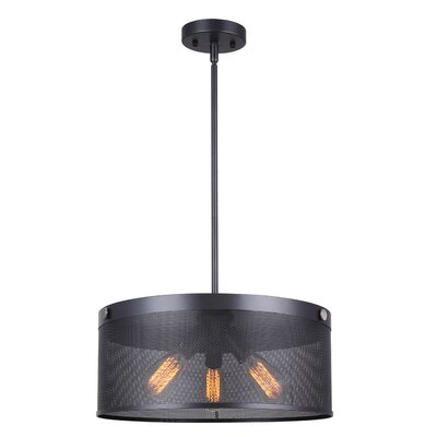 Babara 3-Light Drum Chandelier Size: 58.75 H x 16.5 W x 16.5 D