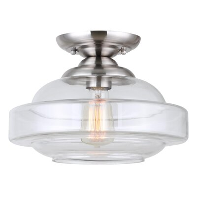 Gideon 1-Light Semi Flush Mount Fixture Finish: Brushed Nickel