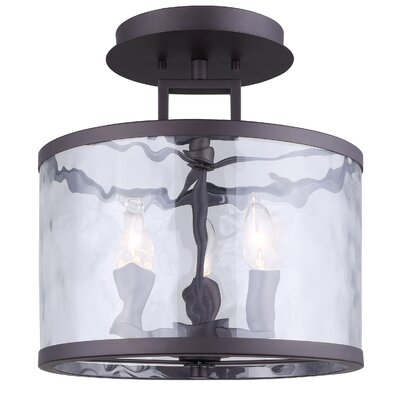 Bernardine 3-Light Semi Flush Mount Fixture Finish: Oil Rubbed Bronze
