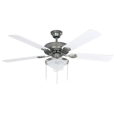 52 Chadbourne 5 Blade Ceiling Fan Finish: Brushed Nickel with White/Bleached Oak Blades