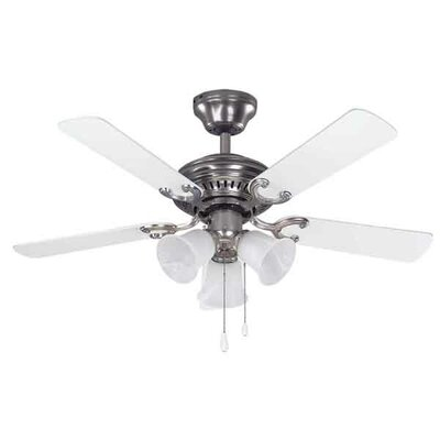 42 Marian 5 Blade Ceiling Fan Finish: Brushed Pewter with White Blades