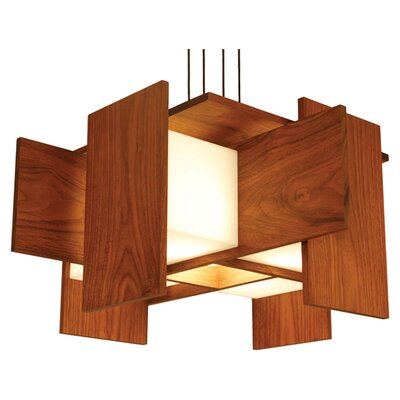 5-Light Geometric Pendant Wood Finish: Dark Stained