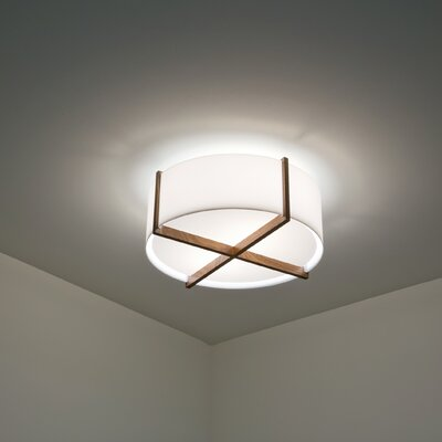 Plura 2-Light Flush Mount Shade Color: Oiled Walnut, Size: 6.38 H x 24 W x 24 D