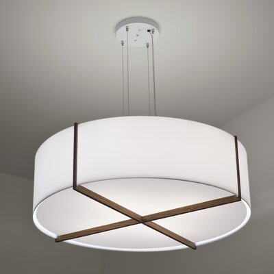 Plura 4-Light Drum Pendant Finish: Oiled Walnut, Size: 10.38 H x 36 W x 36 D