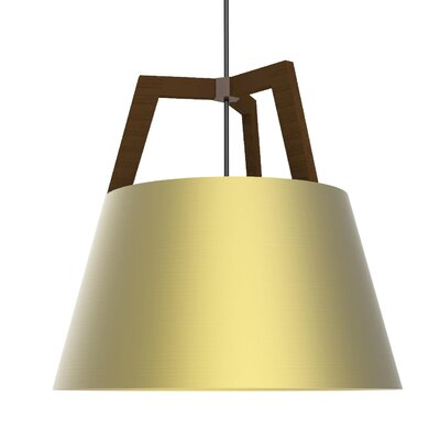 Imber 1-Light LED Inverted Pendant Finish: Oiled Walnut/Brushed Brass, Size: 17 H x 17.75 W