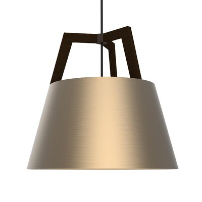 Imber LED Pendant Size: 17 H x 17.75 W, Finish: Dark Stained Walnut/Rose Gold