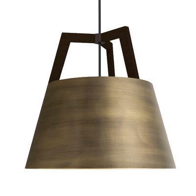 Imber 1-Light LED Inverted Pendant Finish: Dark Stained Walnut/Distressed Brass, Size: 22 H x 24 W