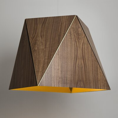 Calx 4-Light Geometric Pendant Finish: Dark Stained Walnut/Rose Gold