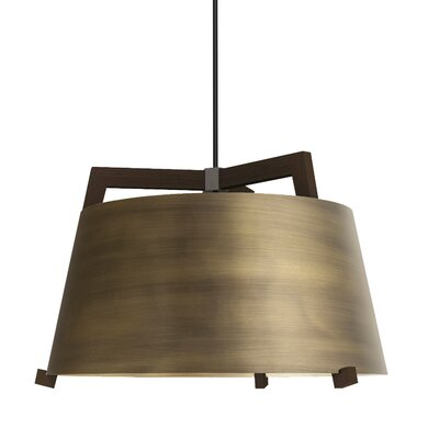 Ignis 1-Light LED Drum Pendant Finish: Dark Stained Walnut/Distressed Brass, Size: 14.75 H x 24 W