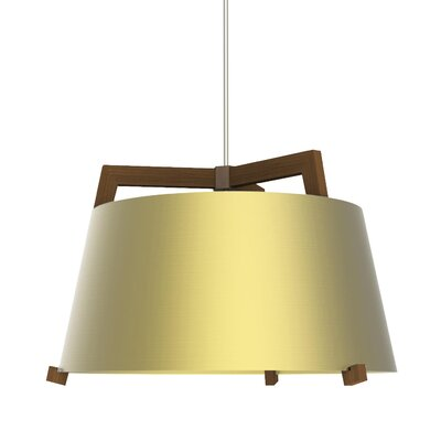 Ignis 1-Light LED Drum Pendant Finish: Oiled Walnut/Brushed Brass, Size: 11.5 H x 17 W