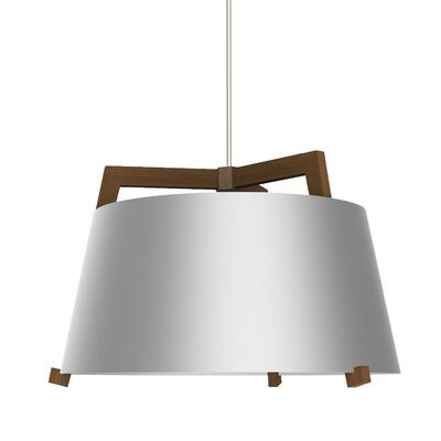 Ignis 1-Light LED Drum Pendant Finish: Oiled Walnut/Brushed Aluminum, Size: 11.5 H x 17 W