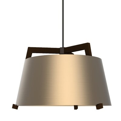 Ignis 1-Light LED Drum Pendant Finish: Dark Stained Walnut/Rose Gold, Size: 11.5 H x 17 W