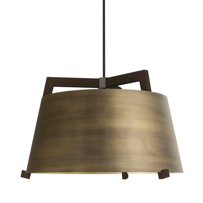 Ignis 1-Light Inverted Pendant Finish: Dark Stained Walnut/Distressed Brass