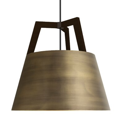 Imber 1-Light Inverted Pendant Finish: Dark Stained Walnut/Distressed Brass