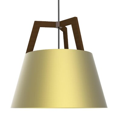 Imber LED Geometric Pendant Size: 22 H x 24 W, Finish: Oiled Walnut/Brushed Brass