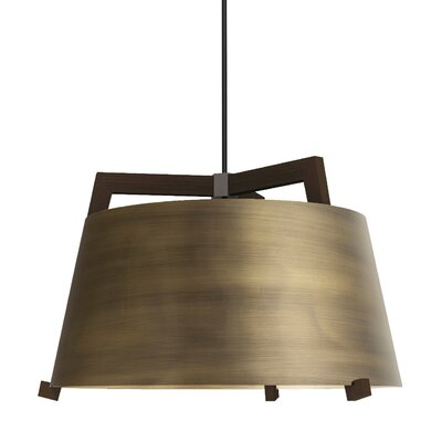 Ignis 1-Light Mini Pendant Finish: Dark Stained Walnut/Distressed Brass