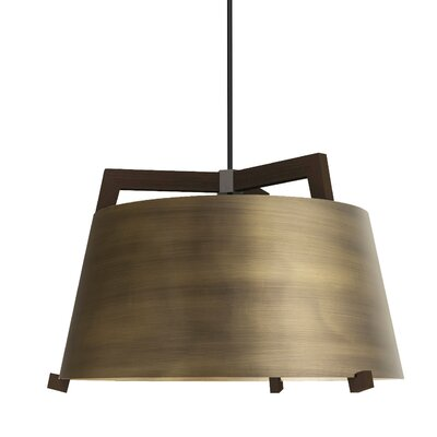 Ignis LED Pendant Size: 11.5 H x 17 W, Finish: Dark Stained Walnut/Distressed Brass