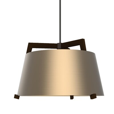 Ignis 3-Light Drum Pendant Finish: Dark Stained Walnut/Rose Gold