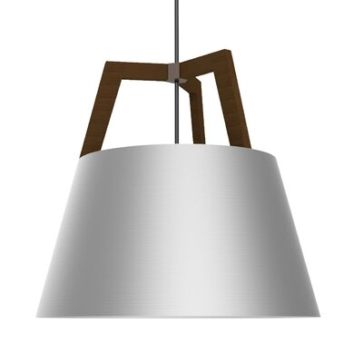 Imber 1-Light LED Geometric Pendant Finish: Oiled Walnut/Brushed Aluminum, Size: 17 H x 17.75 W