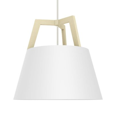 Imber LED Geometric Pendant Size: 17 H x 17.75 W, Finish: Maple/Gloss White